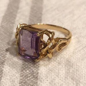Emerald-cut Amethyst and 10k Gold Cocktail Ring